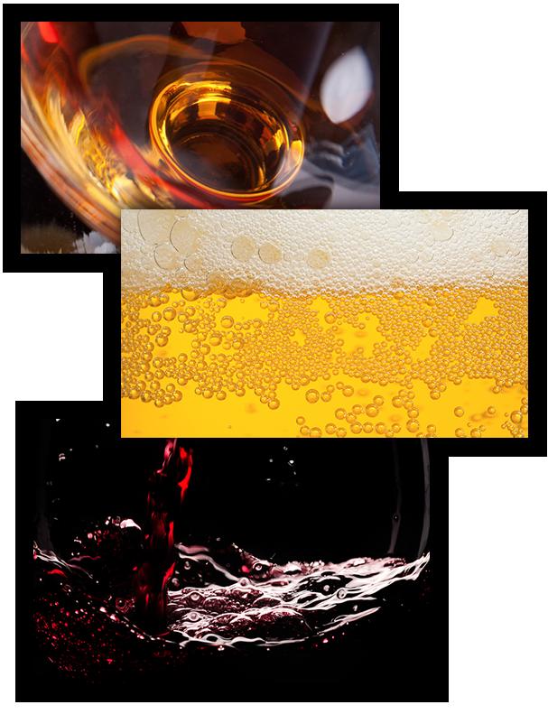 Collage - spirits beer wine